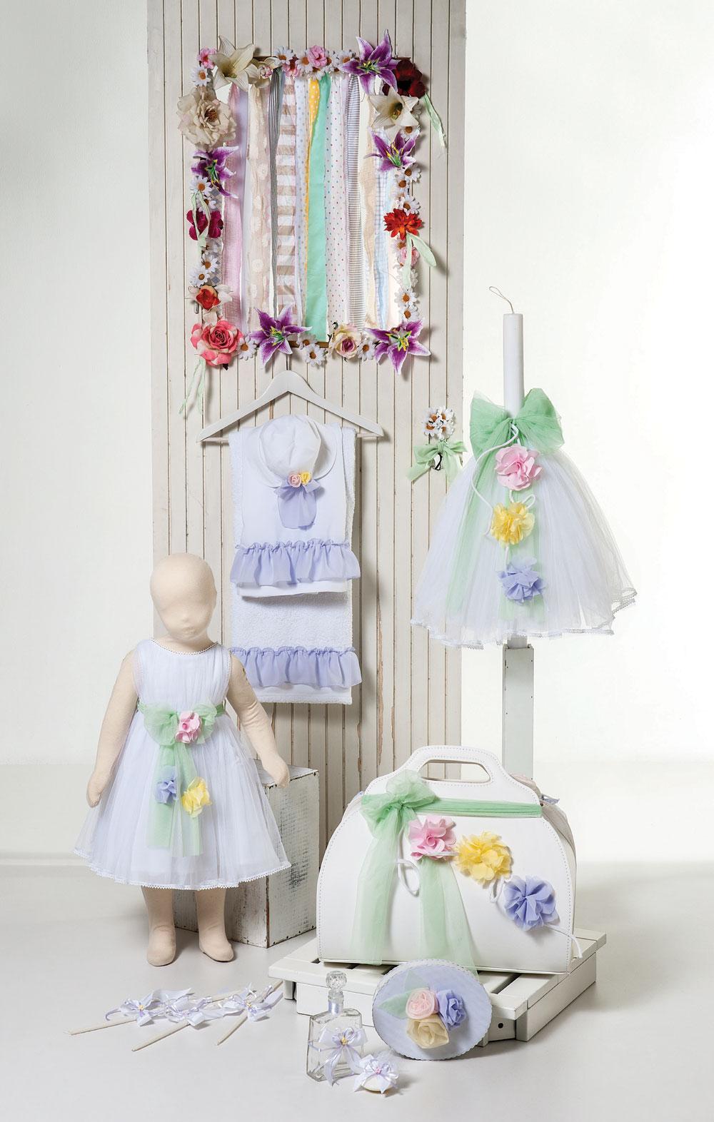 φόρεμα από βαμβακερό τούλι με πολύχρωμα λουλούδια