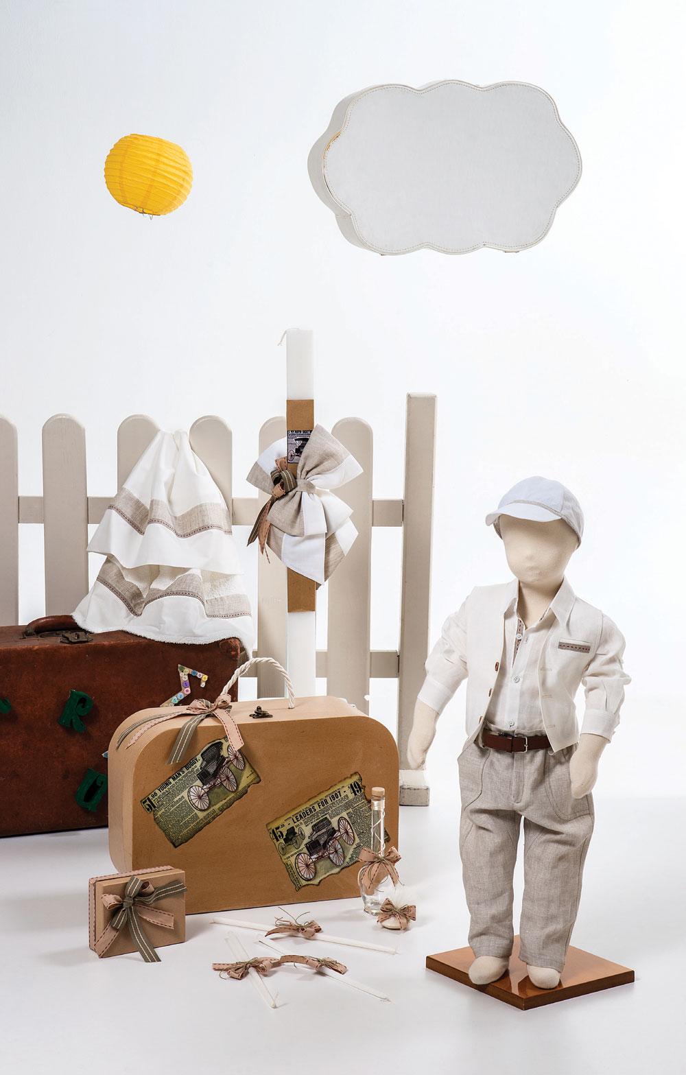 1467 - λινό σύνολο με γιλέκο οικολογική βαλίτσα με τεχνοτροπία