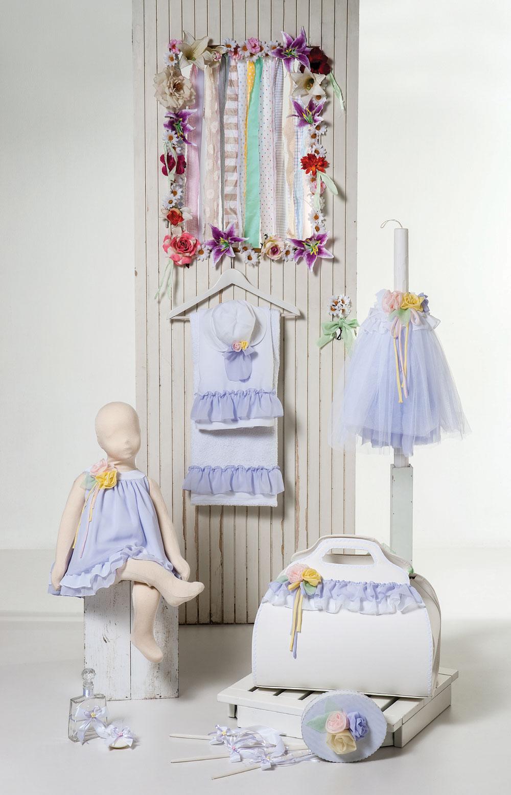 1413 - φόρεμα από λιλά μουσελίνα με χειροποίητα λουλούδια